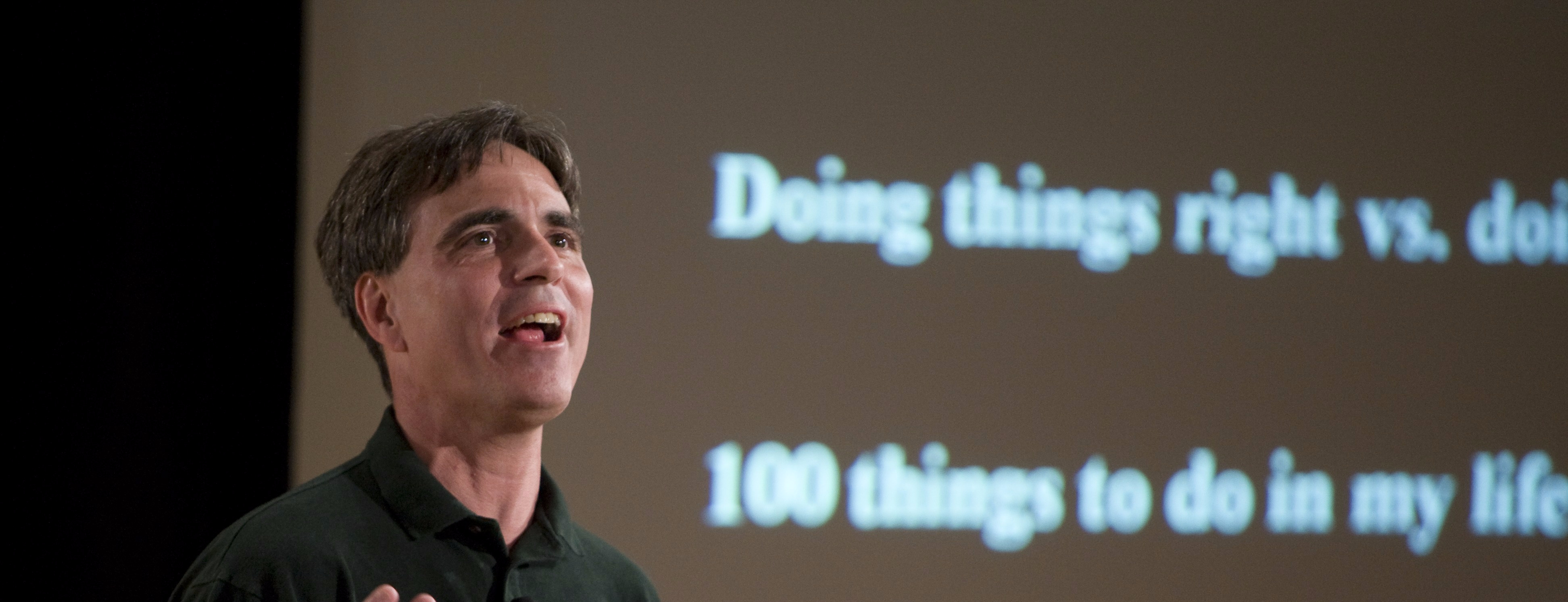 """The University of Virginia's School of Engineering hosted Randy Pausch for his lecture on """"Time Management"""" at Cabell Hall in Charlottesville, VA on November 27, 2007."""
