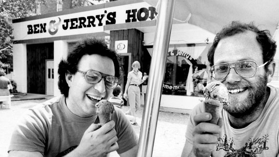 BENNINGTON, VT - JULY 3: Jerry Greenfield and Ben Cohen, partners of a  homemade ice cream stand, Ben & Jerry's, in Bennington, Vt. (Photo by Ted Dully/The Boston Globe via Getty Images)